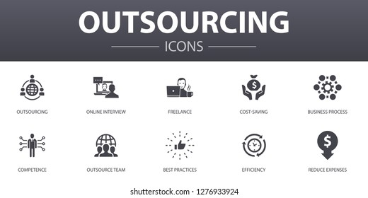 outsourcing simple concept icons set. Contains such icons as online interview, freelance, business process, outsource team and more, can be used for web, logo, UI/UX