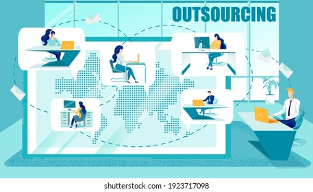Outsourcing or Subcontract Workers Attraction. Businesspeople or Professionals Busy with Work on Common Project. Outsourced Services and Specialists Worldwide Searching. Flat Vector Illustration.