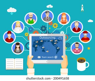 Outsourcing. Team of professionals working on network vector illustration