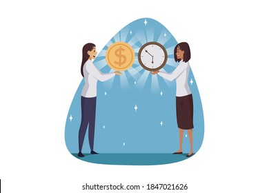 Outsourcing, time management, business concept. Financial effective productivity and temporary profit revenue. Businesswomen clerks managers holding clock watch dollar sign coin together illustration.