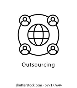 Outsourcing Vector Line Icon