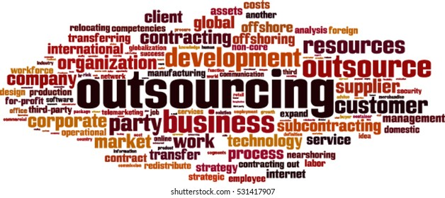 Outsourcing word cloud concept. Vector illustration