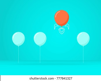 Outstanding the Balloon rises above with rocket. Business advantage opportunities and success concept. Vector Illustration