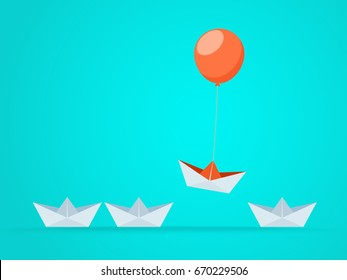 Outstanding the Boat rises above with balloon.Business advantage opportunities and success concept.Uniqueness,leadership,independence,initiative,strategy, dissent, think different. Vector Illustration