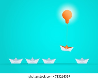 Outstanding the Boat rises above with light bulb idea. Business advantage opportunities and success concept. Uniqueness, leadership, independence, initiative, think different. Vector Illustration