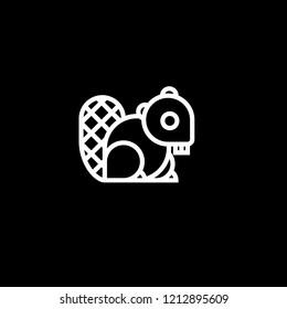 Outstanding Creative Minimalist Line Art Beaver Icon | Minimal Beaver Logo Design