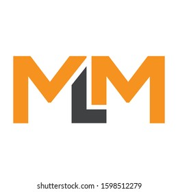Outstanding professional  initial MLM logo design template colored orange and gray. Design for business and company identity.