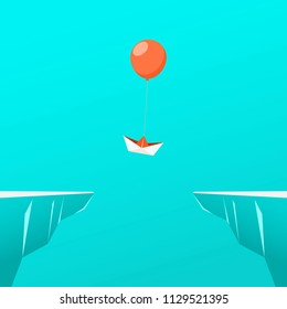 Outstanding the paper boat float up with balloon through the gap obstacles between hill. Business advantage opportunities and success concept. Uniqueness, leadership, independence, initiative