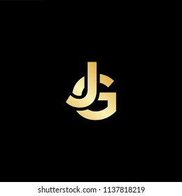 Outstanding professional elegant trendy awesome artistic black and gold color GJ JG initial based Alphabet icon logo.