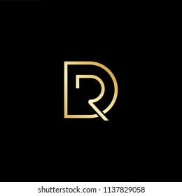 Outstanding professional elegant trendy awesome artistic black and gold color DR RD initial based Alphabet icon logo.