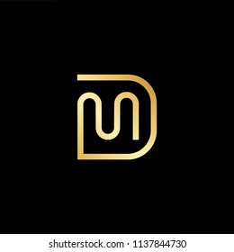 Outstanding professional elegant trendy awesome artistic black and gold color DM MD initial based Alphabet icon logo.