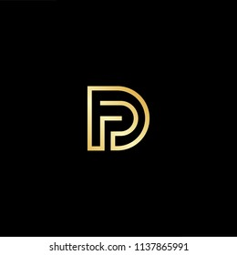 Outstanding professional elegant trendy awesome artistic black and gold color DP PD initial based Alphabet icon logo.
