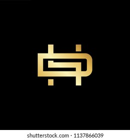 Outstanding professional elegant trendy awesome artistic black and gold color DH HD initial based Alphabet icon logo.