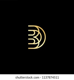 Outstanding professional elegant trendy awesome artistic black and gold color DB BD initial based Alphabet icon logo.