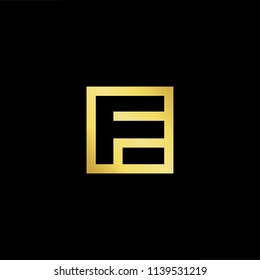 Outstanding professional elegant trendy awesome artistic black and gold color EF FE initial based Alphabet icon logo.