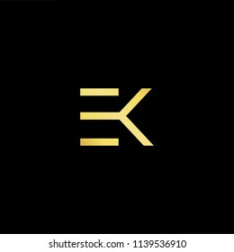 Outstanding professional elegant trendy awesome artistic black and gold color EK KE initial based Alphabet icon logo.