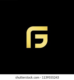 Outstanding professional elegant trendy awesome artistic black and gold color FG GF initial based Alphabet icon logo.
