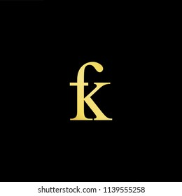 Outstanding professional elegant trendy awesome artistic black and gold color FK KF initial based Alphabet icon logo.