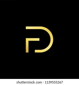 Outstanding professional elegant trendy awesome artistic black and gold color FD DF initial based Alphabet icon logo.