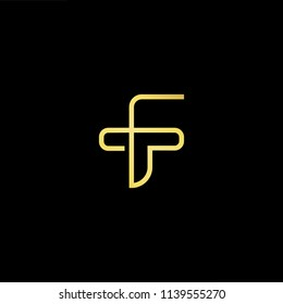 Outstanding professional elegant trendy awesome artistic black and gold color FT TF initial based Alphabet icon logo.