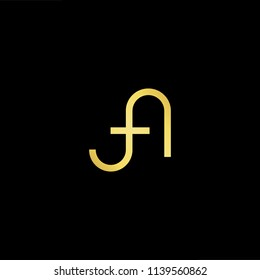 Outstanding professional elegant trendy awesome artistic black and gold color FA AF initial based Alphabet icon logo.