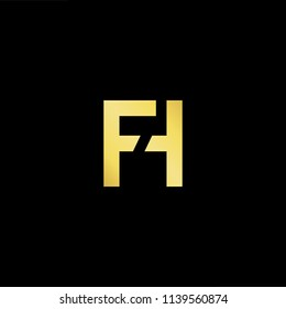 Outstanding professional elegant trendy awesome artistic black and gold color FH HF initial based Alphabet icon logo.