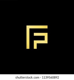 Outstanding professional elegant trendy awesome artistic black and gold color FP PF initial based Alphabet icon logo.