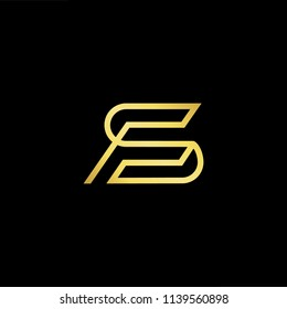 Outstanding professional elegant trendy awesome artistic black and gold color FS SF initial based Alphabet icon logo.