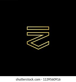 Outstanding professional elegant trendy awesome artistic black and gold color FZ ZF initial based Alphabet icon logo.