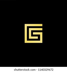 Outstanding professional elegant trendy awesome artistic black and gold color GC CG initial based Alphabet icon logo.
