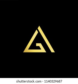 Outstanding professional elegant trendy awesome artistic black and gold color GA AG initial based Alphabet icon logo.