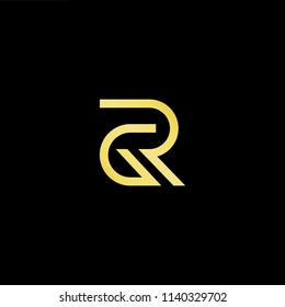 Outstanding professional elegant trendy awesome artistic black and gold color GR RG initial based Alphabet icon logo.