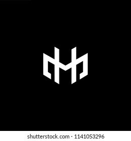 Outstanding professional elegant trendy awesome artistic black and white color HM MH initial based Alphabet icon logo.