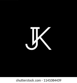 Outstanding professional elegant trendy awesome artistic black and white color JK KJ initial based Alphabet icon logo.