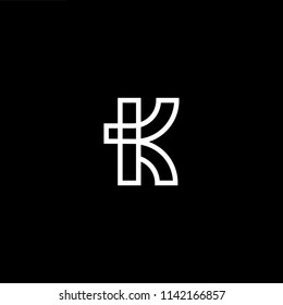 Outstanding professional elegant trendy awesome artistic black and white color IK KI initial based Alphabet icon logo.