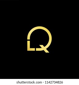Outstanding professional elegant trendy awesome artistic black and gold color LQ QL initial based Alphabet icon logo.