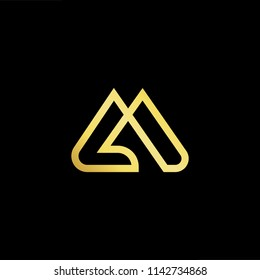 Outstanding professional elegant trendy awesome artistic black and gold color LM ML initial based Alphabet icon logo.