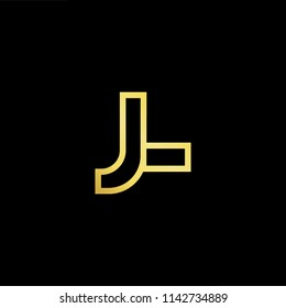 Outstanding professional elegant trendy awesome artistic black and gold color LJ JL initial based Alphabet icon logo.