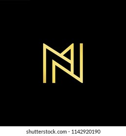 Outstanding professional elegant trendy awesome artistic black and gold color MN NM initial based Alphabet icon logo.