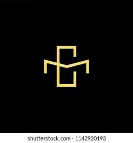 Outstanding professional elegant trendy awesome artistic black and gold color MC CM initial based Alphabet icon logo.