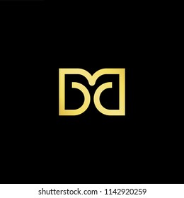 Outstanding professional elegant trendy awesome artistic black and gold color MD DM initial based Alphabet icon logo.