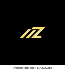 Outstanding professional elegant trendy awesome artistic black and gold color MZ ZM initial based Alphabet icon logo.