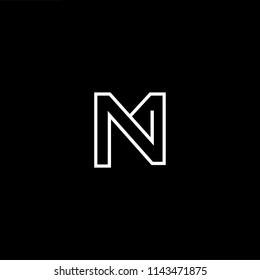 Outstanding professional elegant trendy awesome artistic black and white color NM MN initial based Alphabet icon logo.