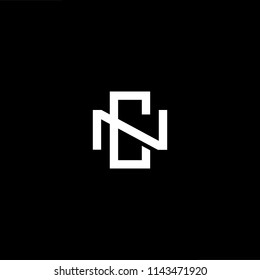 Outstanding professional elegant trendy awesome artistic black and white color NC CN initial based Alphabet icon logo.