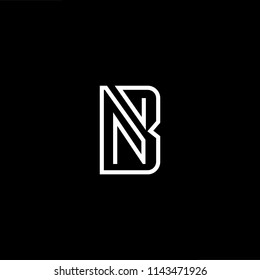 Outstanding professional elegant trendy awesome artistic black and white color NB BN initial based Alphabet icon logo.