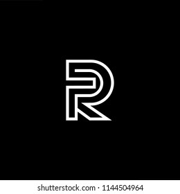 Outstanding professional elegant trendy awesome artistic black and white color PR RP initial based Alphabet icon logo.
