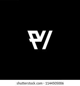 Outstanding professional elegant trendy awesome artistic black and white color PV VP initial based Alphabet icon logo.