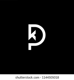 Outstanding professional elegant trendy awesome artistic black and white color PK KP initial based Alphabet icon logo.