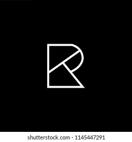 Outstanding professional elegant trendy awesome artistic black and white color RT TR initial based Alphabet icon logo.