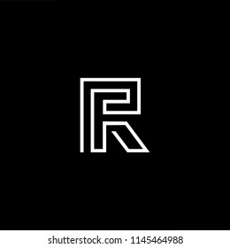 Outstanding professional elegant trendy awesome artistic black and white color RF FR initial based Alphabet icon logo.